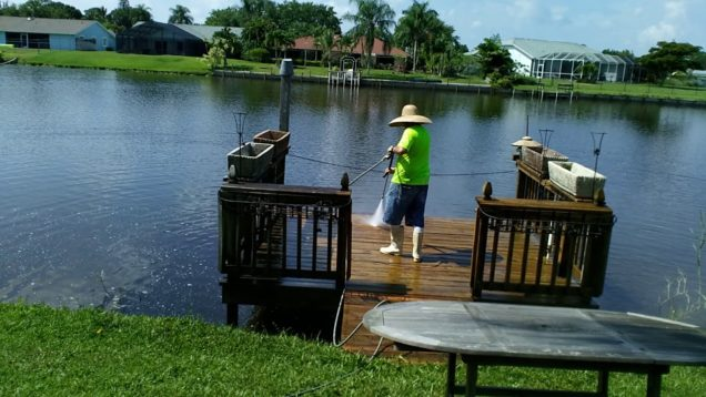 HYDRO BLAST pressure cleaning the dock…